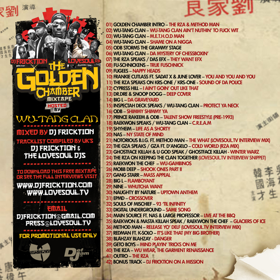 Wu-Tang Clan - The Golden Chamber Tracklist